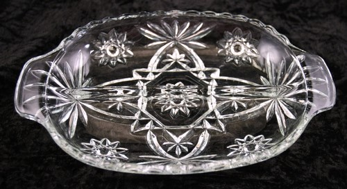 Heavy Glass EAPG Divided Relish Dish, 'Star Of David