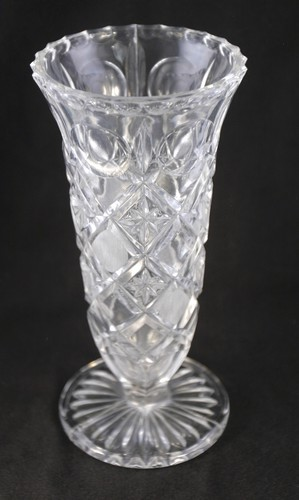 Heavy Pressed Glass Vase With Star In Base Maimeos Memories