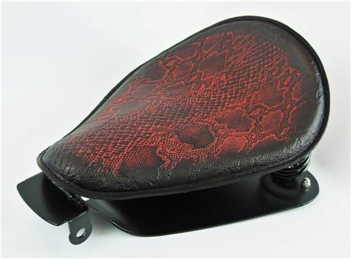 2010-2019 Sportster Antique Red Snake Python Embossed Leather Harley Spring Seat Conversion Kit bcs
