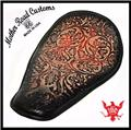 11x16 Red Black Oak Leaf Leather Spring Solo Seat Chopper Bobber Harley Softail