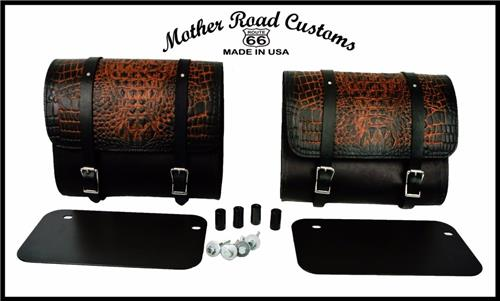 2015-2019 Indian Scout Ant Brn Alligator Leather Saddle Bags Mounting Hardware