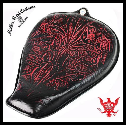 2010-2018 Ant Red Tooled Leather On The Frame Seat Sportster Harley All Models