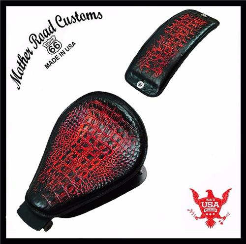 2010-2018 Antique Red Alligator All Sportster Harley Models Leather Seat pad Kit USA bc