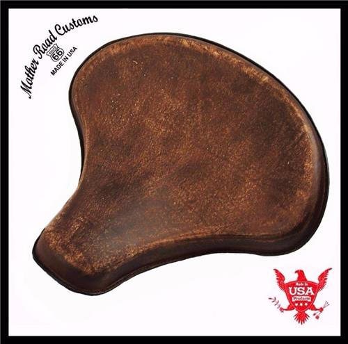 15x14 Brown Distressed Leather Spring Solo Tractor Seat Harley Softail Sportster Scout