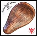 11x16 Ant Tan Alligator Leather Spring Solo Seat Chopper Bobber Harley Softail