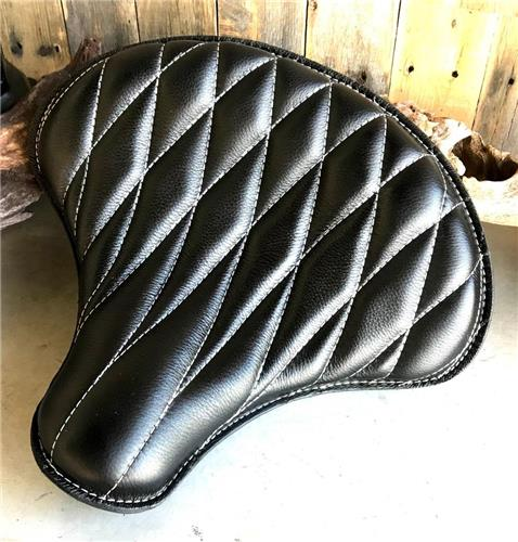 15x14 Blk Diamond Leather Spring Solo Tractor Seat Chopper Scout Bobber Harley