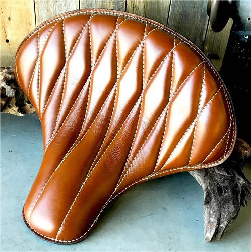 15x14 Tan Diamond Leather Spring Solo Tractor Seat Chopper Scout Bobber Harley