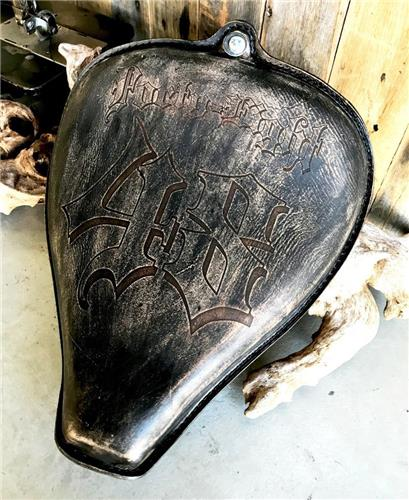2010-2017 Black Dist Leather Tooled On The Frame Seat Sportster Harley 48