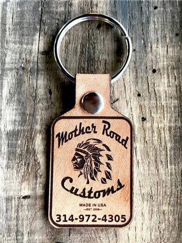 Mother Road Customs Leather Engraved Key Fob Promotional Products Bobber Harley
