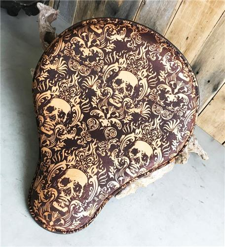 """12x13"""" Scroll Skull Engraved Tooled Spring Leather Spring Seat Chopper Sportster Harley"""