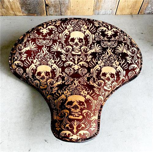 """15x14"""" Scroll Skull Engraved Tooled Spring Leather Seat Chopper Sportster Harley"""