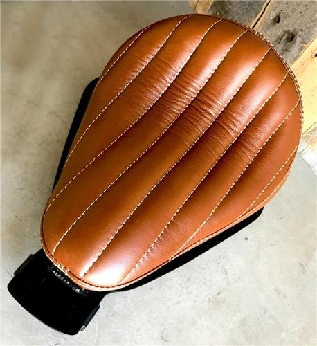 2010-2019 Harley Sportster Bates Styl Tuck Roll Leather Spring Solo Seat Chopper