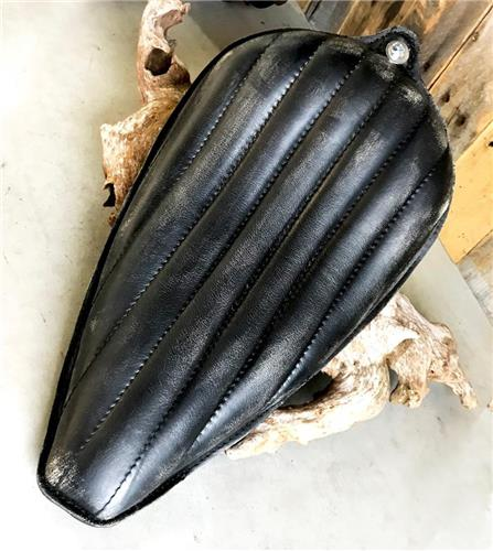 1982-2003 Sportster Black Dist Leather On The Frame Solo Seat Harley Made  in USA