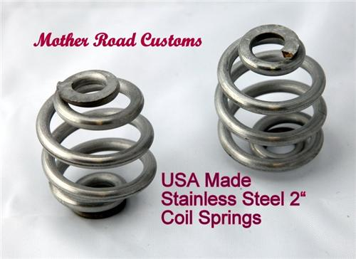 """Stainless Steel 2"""" Seat  Springs Made In USA Chopper Harley Sportster Frame"""