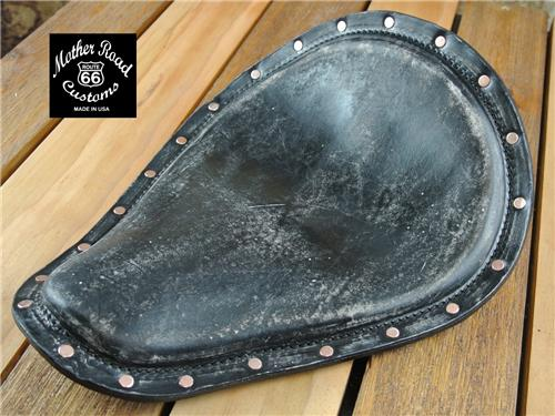 11x13 Black Distressed Leather Seat Copper Rivets Harley Sportster Chopper Nightster Dyna
