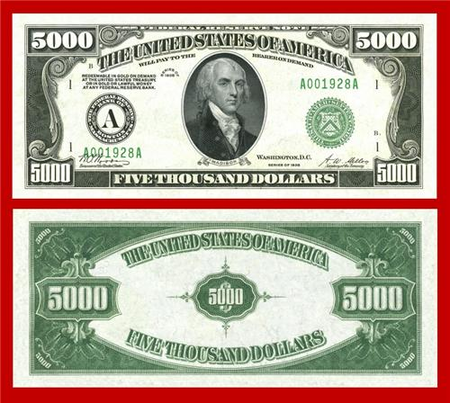 Reproduction $5000 1928 Gold US Paper Money Currency Copy
