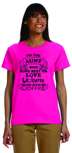 Aunt Love Laughter Coffee Hot Pink Small
