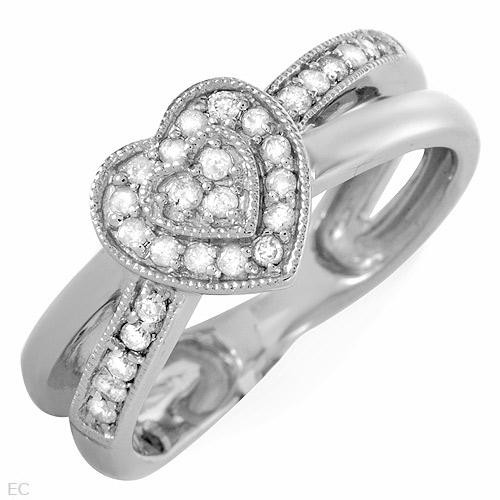 Heart Ring With Genuine Diamonds in White Gold  -  $315.jpg