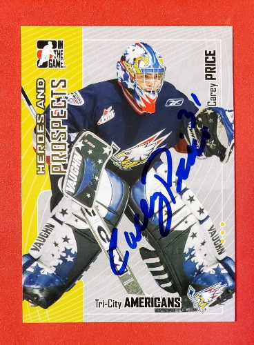 CAREY PRICE Autographed 2005-06 ITG Tri-City Americans WHL
