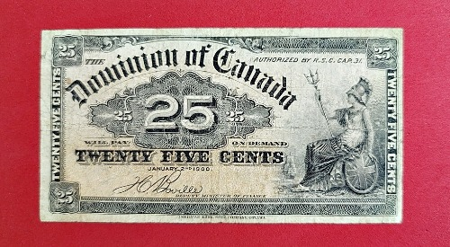 1900 Dominion Of Canada 25 cent Shinplaster - DC-15b - Front
