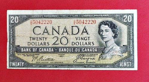 1954 Bank of Canada 'Devils Face' $20.00 Banknote (VG) Front