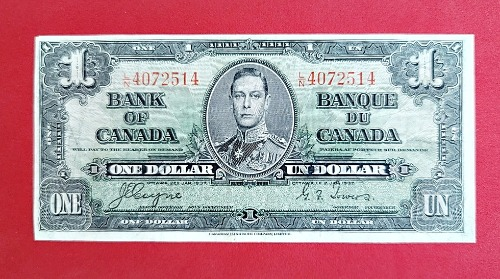 1937 Bank of Canada $1.00 Banknote - Front