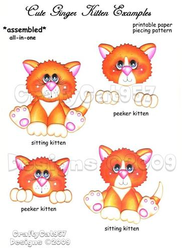 GINGER WHITE KITTEN CAT 2 PAGES PRINTABLE PAPER PIECING