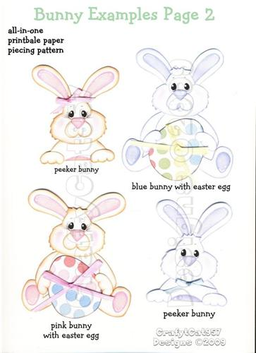 NEW EASTER BUNNY 8 PAGES PRINTABLE PAPER PIECING BY CRAFTYCAT