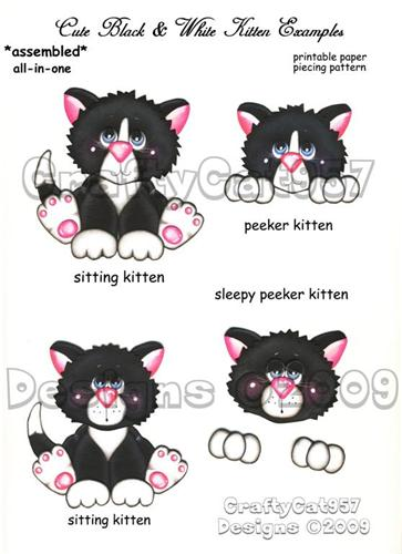 BLACK WHITE KITTEN 2 PAGES PRINTABLE PAPER PIECING BY CRAFTYCAT