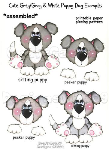 SUPER CUTE GREY GRAY PUPPY DOG  2 PAGES PRINTABLE PAPER PIECING
