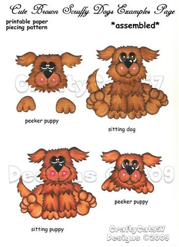 NEW SCRUFFY BROWN GRAY GREY DOG 4 PAGES PRINTABLE PAPER PIECING