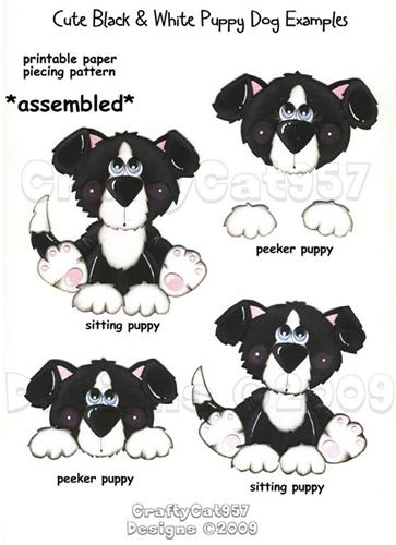 CUTE BLACK  WHITE  PUPPY DOG  2 PAGES PRINTABLE PAPER PIECING
