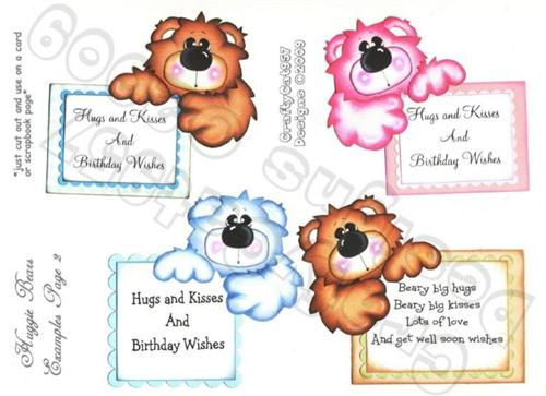 HUGGIE MESSAGE BINGO BEAR 4 PAGES  PRINTABLE PAPER PIECING