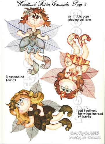 WOODLAND CUTE FAIRY 3 PAGES PRINTABLE PAPER PIECING BY CRAFTYCAT957 DESIGNS