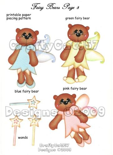 CUTE FAIRY BEARS PRINTABLE PAPER PIECING CRAFTYCAT957