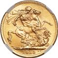 1913 Gold Sovereign MS66 Reverse