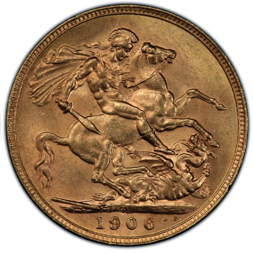 1906-P Gold Sovereign PCGS MS63 1