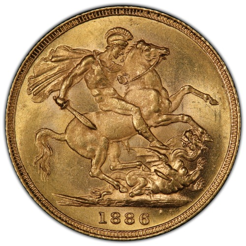 Australia 1886-S Gold Sovereign St. George KM-7 PCGS MS-64 1