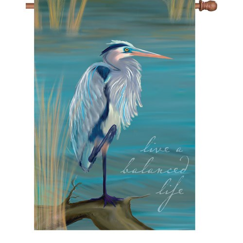 Premier Kite's  House Flag- Live a Balance Life -Blue Heron  #52702  28x40 in.