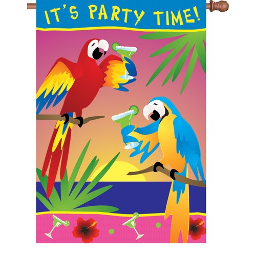 Premier Kite's  House Flag- Its Party Time- Parrots # 52274  28x40 in.