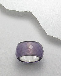 Amethyst Faceted Ring With Sterling Silver 20 Mm. Wide Size 7