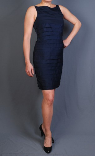 Martha's Closet Collection Size 8 Silk Cocktail/Audrey Hepburn Navy Sheath Dress
