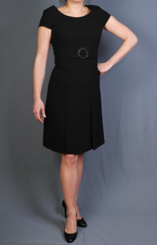 Couture Tahari Size 6 Black Wool Empire Waist Belted Dress