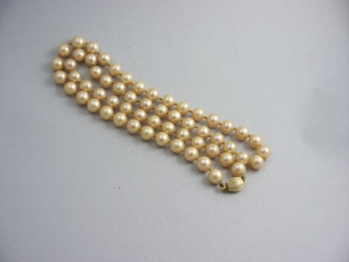 Saks Fifth Avenue 8 Mm. Pearls 1950'S 14 Kt Vermeil Clasp