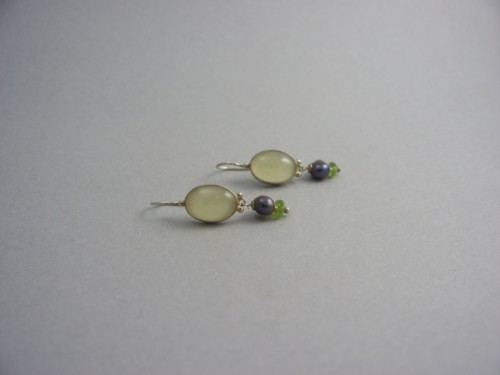 Sundance Sterling Silver Black Pearl And Smoky Green Topaz Hanging Earrings