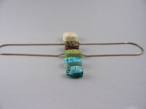 sterling silver box chain with five egyptian glazed scarabs