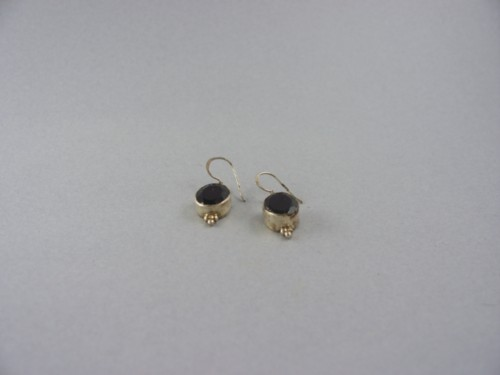 garnet and sterling silver hanging pierced earrings tibetan