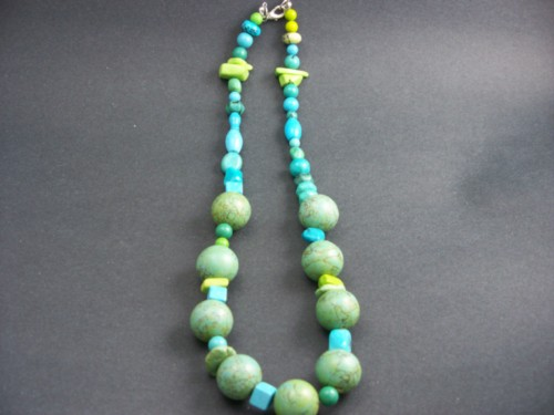 Blue, Green And Yellow Tibetan Turquoise Bead Necklace