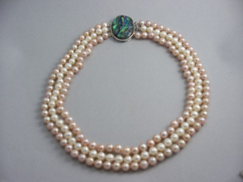 three strand 6 mm pink and white pearls