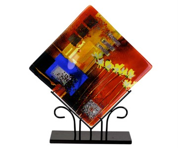 Square Red and Blue Fused Glass Platter